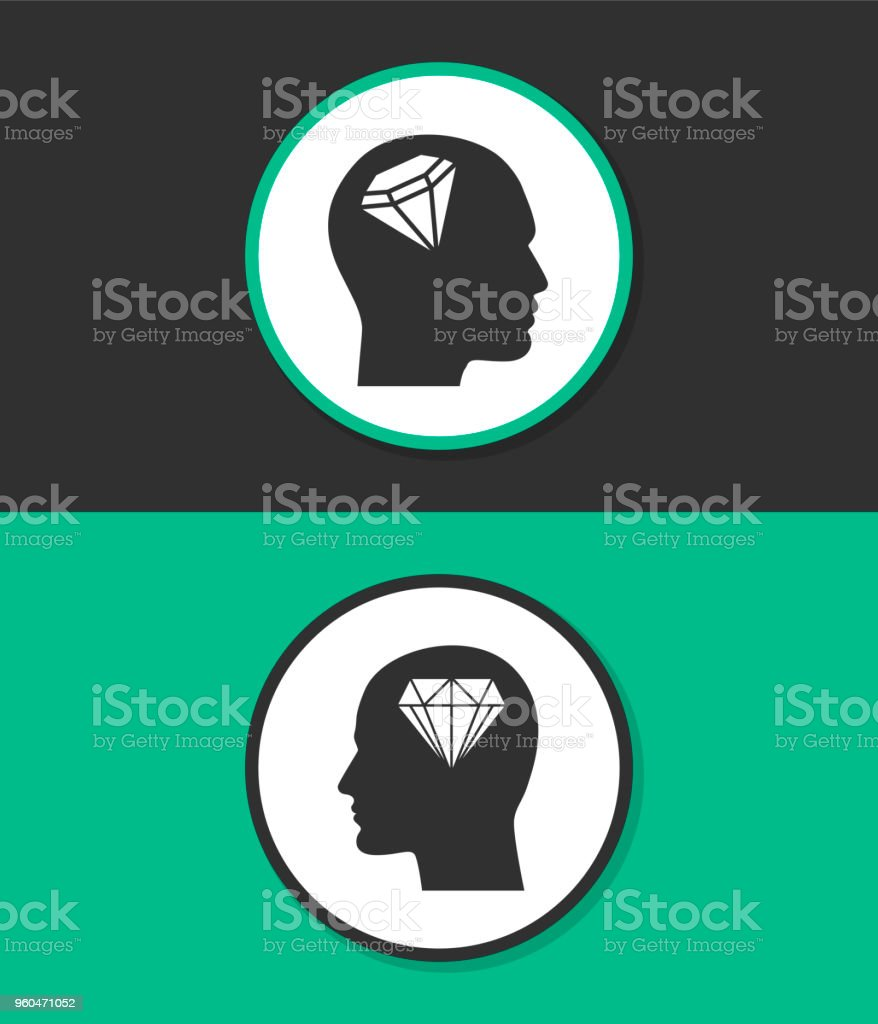 Human profile with diamond vector icon. vector art illustration