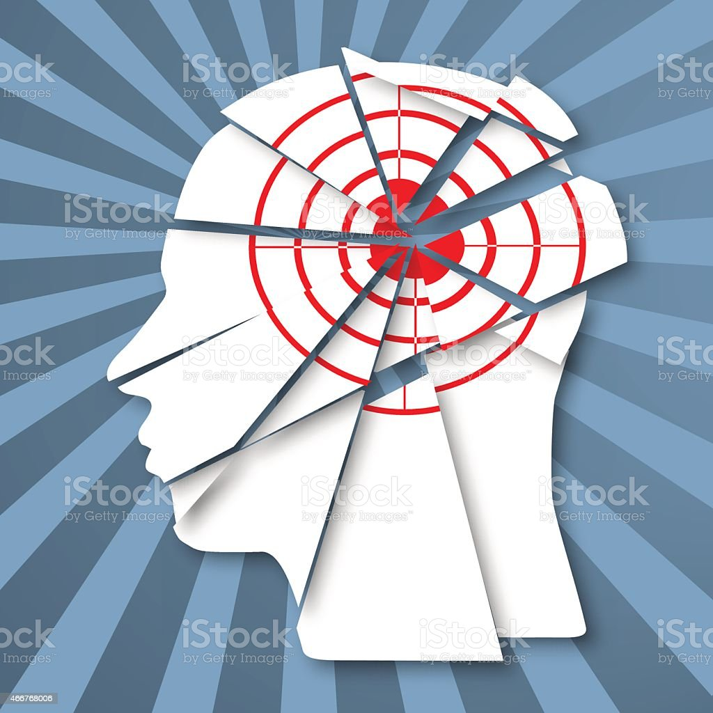 Human profile with red target. Information attack and headache vector art illustration