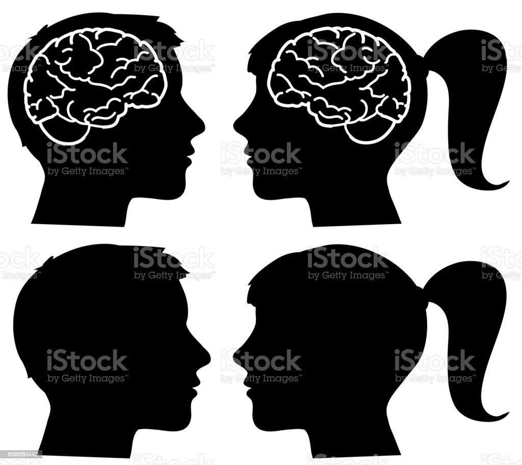 Human profiles silhouettes with brain - illustrazione arte vettoriale