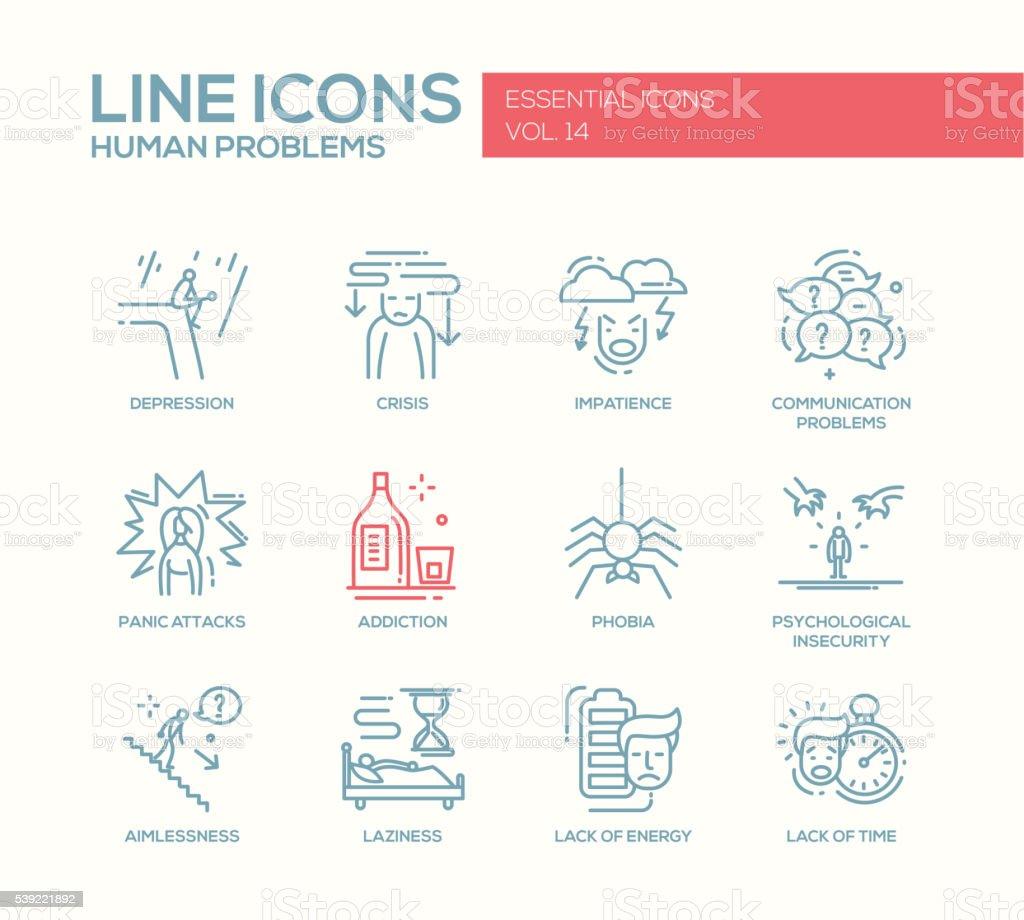 Human psychological problems- line design icons set vector art illustration