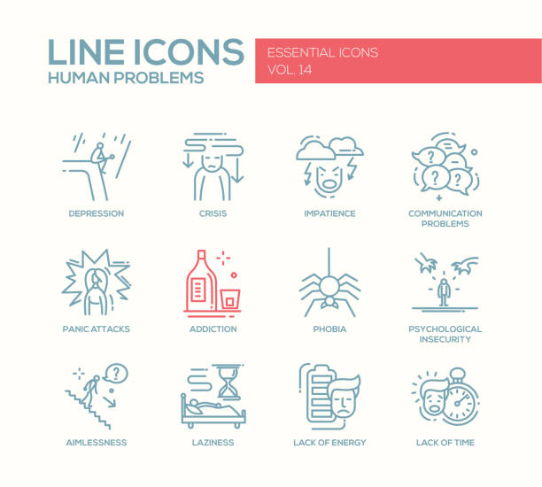 human psychological problems- line design icons set - anxiety stock illustrations, clip art, cartoons, & icons
