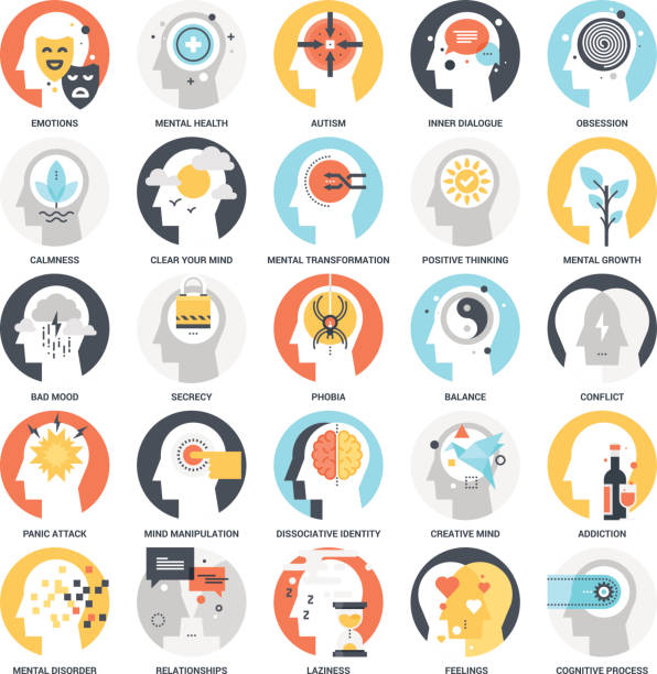 Human Psychology Icons vector art illustration