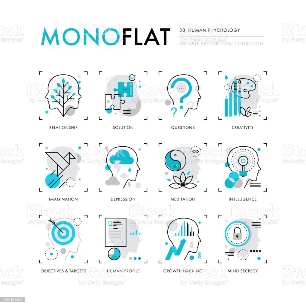 Human Psychology Monoflat Icons vector art illustration