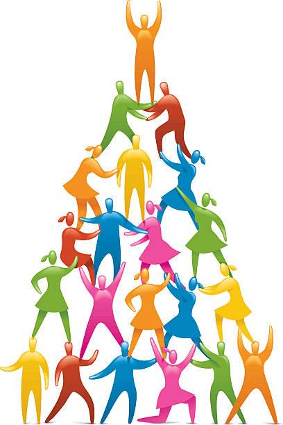 Human Figures Form A Pyramid Stock Illustration
