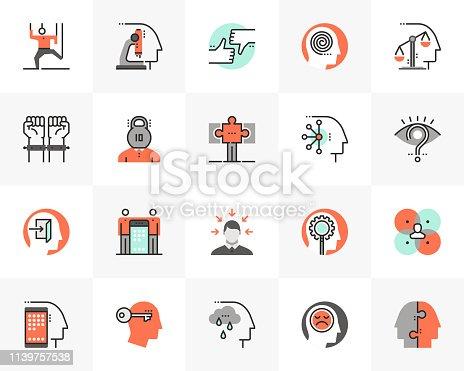 Flat line icons set of human relation problem, character feature. Unique color flat design pictogram with outline elements. Premium quality vector graphics concept for web, logo, branding, infographics.