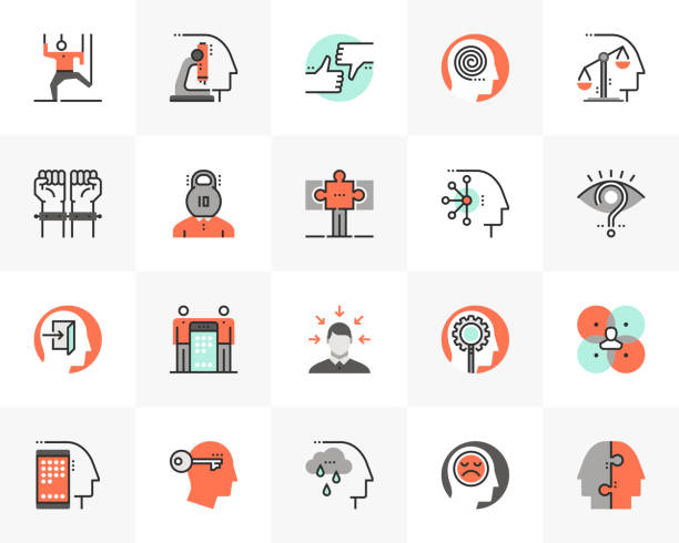 Human Relations Futuro Next Icons Pack Flat line icons set of human relation problem, character feature. Unique color flat design pictogram with outline elements. Premium quality vector graphics concept for web, logo, branding, infographics. curiosity stock illustrations