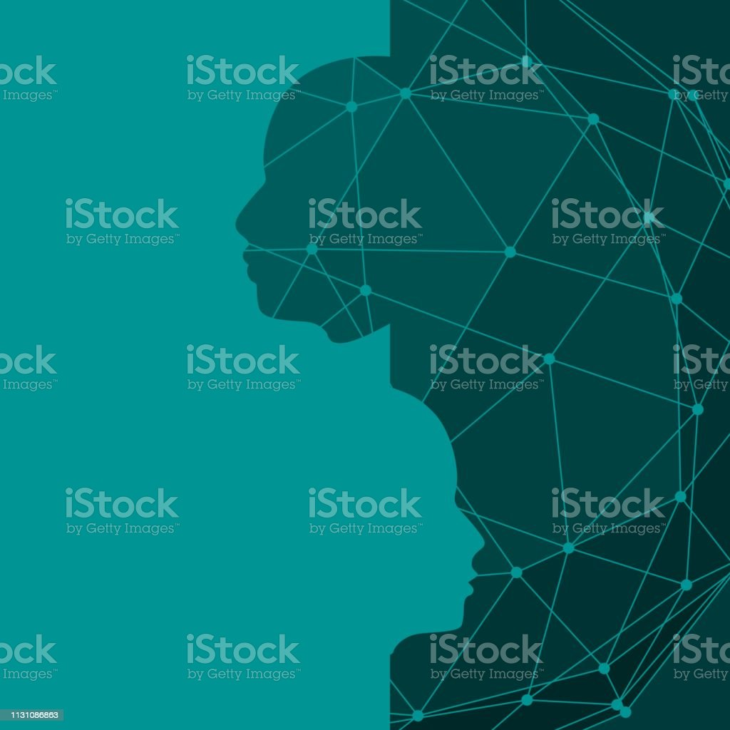 Silhouettes of a humans head. Scientific medical designs. Human...