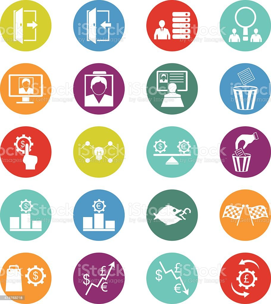 Human resource and management icons vector art illustration