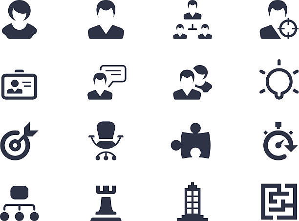 Human resource and strategy icons Human resource and strategy icons back lit stock illustrations