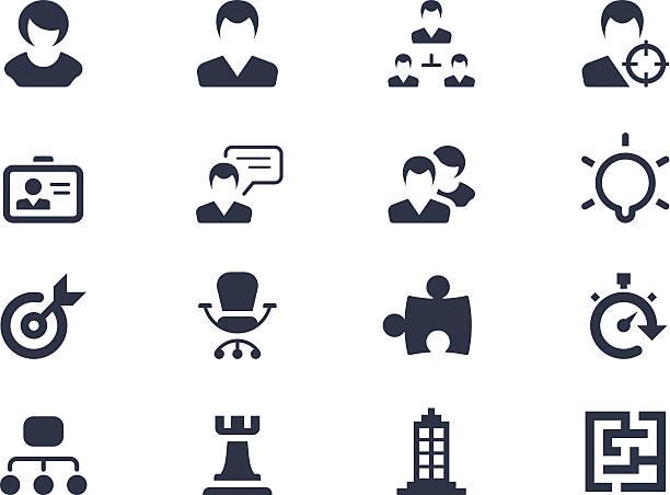 human resource und strategie icons - turm bauwerk stock-grafiken, -clipart, -cartoons und -symbole