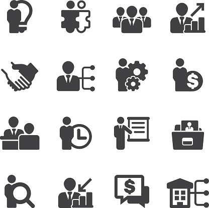 Human Resource Business And Management Silhouette Icons