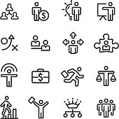Human Resource, Business and Strategy Icons - Line Series