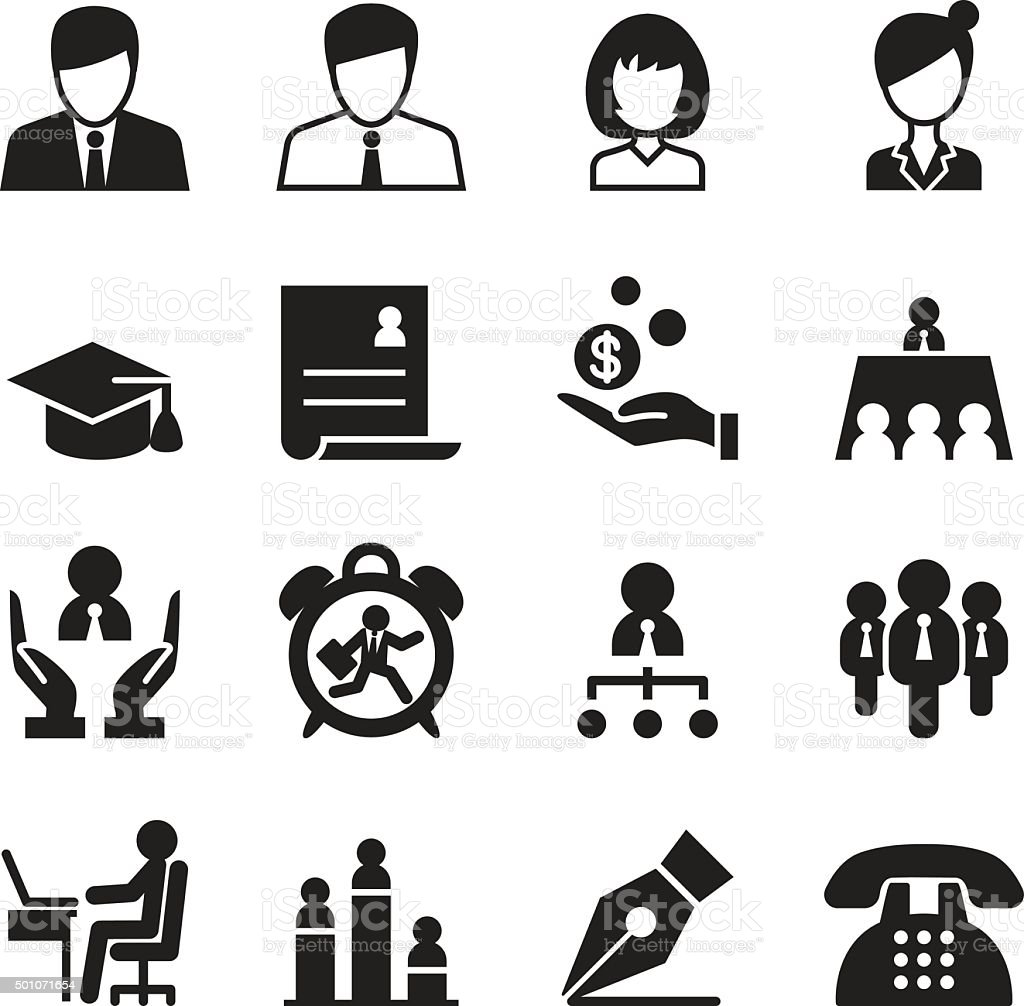 Human resource & Business Management icons set vector art illustration