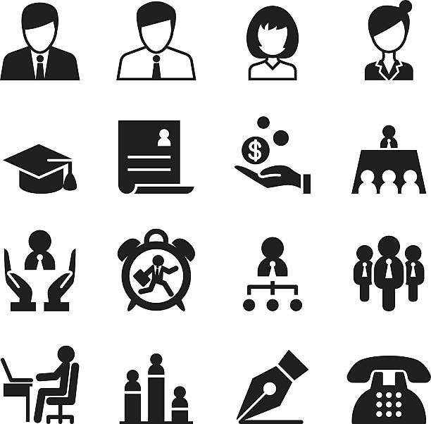 Human resource & Business Management icons set vector art illustration