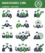 Human resource icons on white background,green version,clean vector