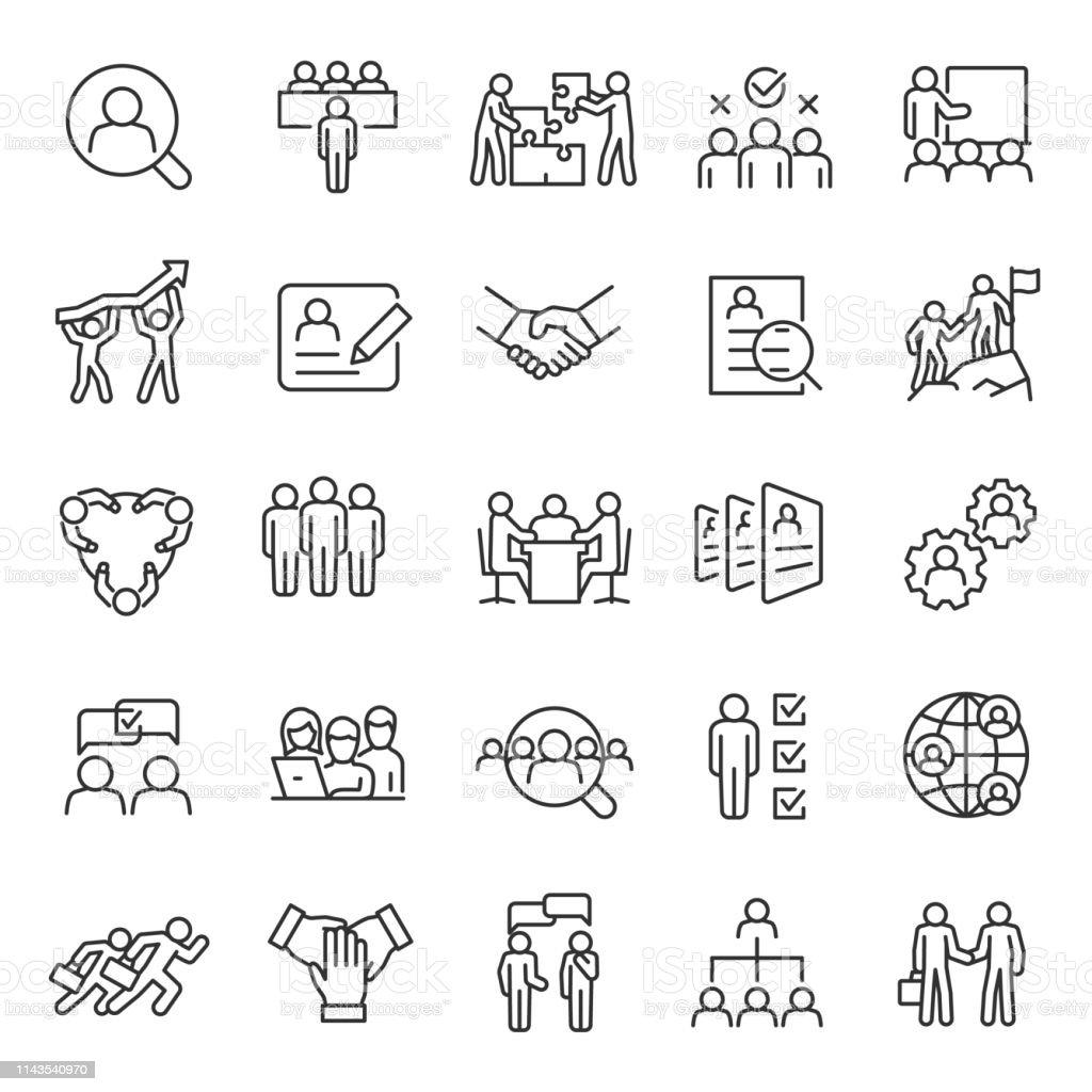 Menschliche Ressource, linearer Icon-Satz. Jobsuche und Mitarbeitersuche. Interview und Rekrutierung. Teamarbeit, Geschäftsleute. Bearbeitbare Schlaganfälle. - Lizenzfrei Anwerbung Vektorgrafik