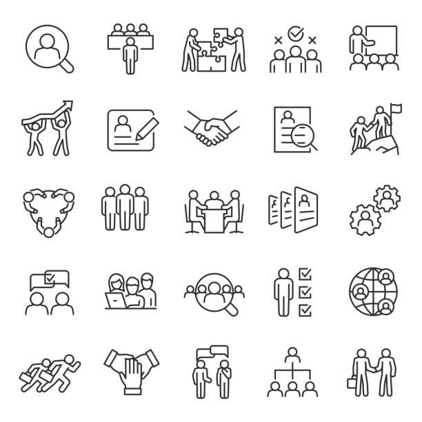 zasoby ludzkie, liniowy zestaw ikon. poszukiwanie pracy i poszukiwanie pracowników. rozmowa kwalifikacyjna i rekrutacja. pracy zespołowej, ludzi biznesu. edytowalne obrys. - grupa przedmiotów stock illustrations