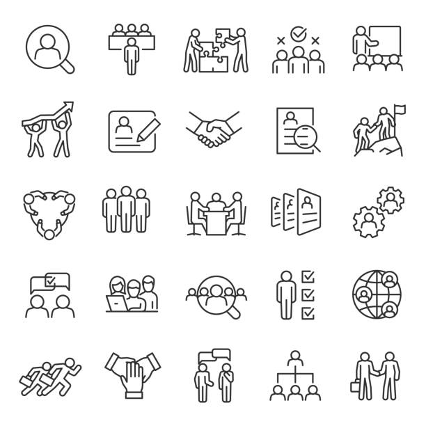 human resource, linear  icon set. job hunting and employee search. interview and recruitment. team work, business people. editable stroke. - business stock illustrations
