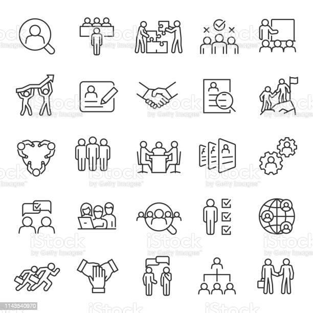 Vetores de Recurso Humano Jogo Linear Do Ícone Caça De Emprego E Pesquisa De Empregado Entrevista E Recrutamento Trabalho Em Equipe Empresários Traço Editável e mais imagens de Adulto