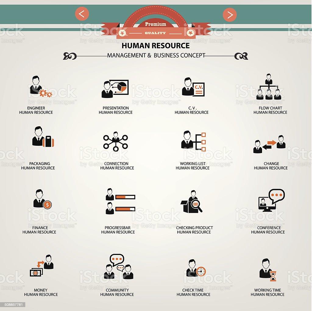 Human resource, Management & Business concept icons vector art illustration