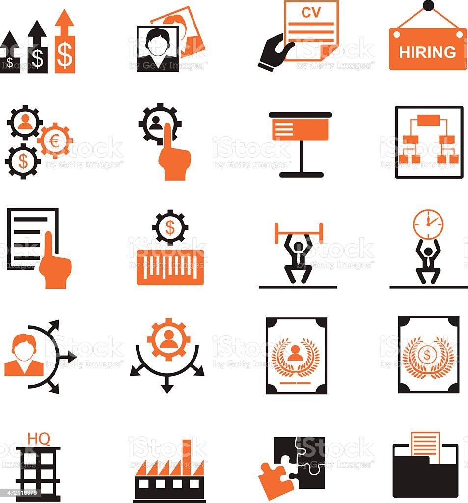 Human resource management icons vector art illustration