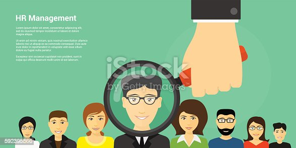 flat style banner design of human recource management concept, picture of human hand holding magnifying glass with people avatars on background