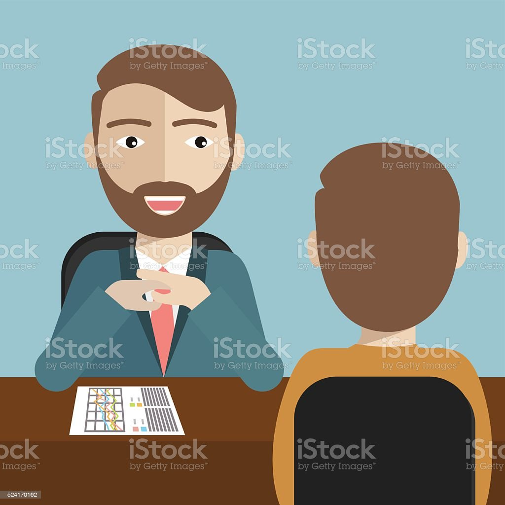 Human resource manager  interviewed the applicant vector art illustration