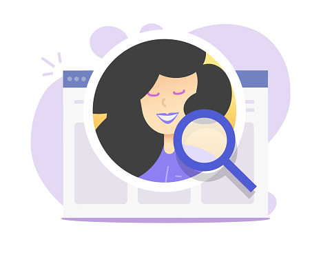 human resources analysis online concept, internet digital recruitment vector illustration, online web candidate search flat cartoon, person identification, inspection of profile via magnifying glass