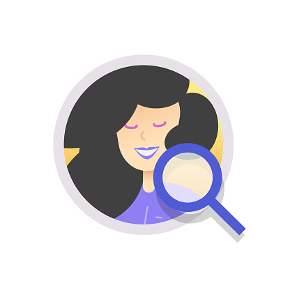 Human resources analysis, search candidate or recruitment concept vector icon flat cartoon illustration, idea of person identification, inspection of woman profile via magnifying glass modern design