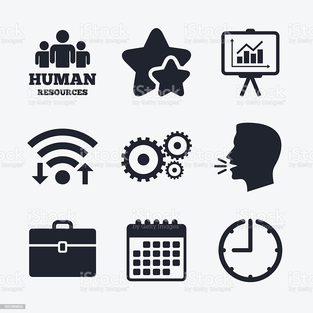 Human resources and Business. Presentation board vector art illustration