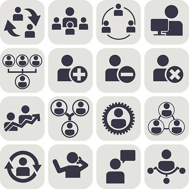 illustrations, cliparts, dessins animés et icônes de ressources humaines et gestion ensemble d'icônes - infographie processus