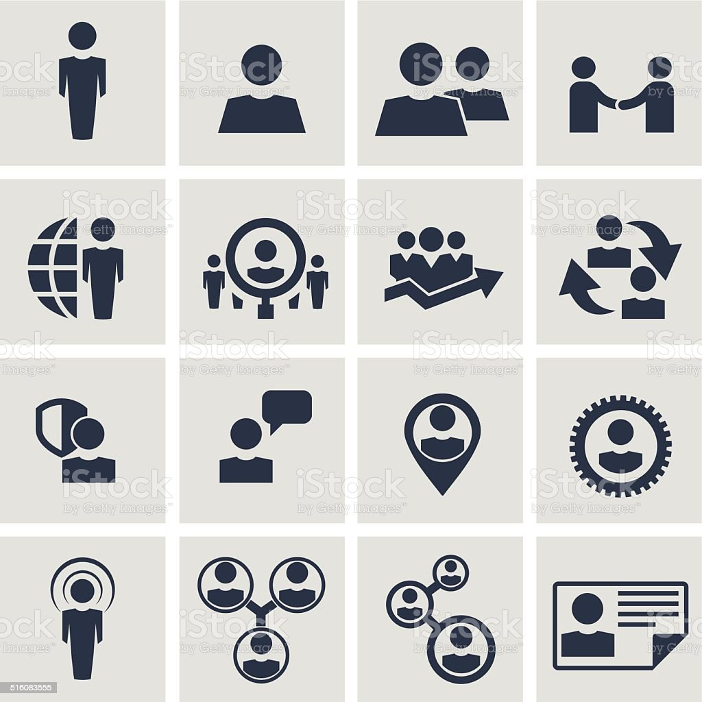 Human resources and management icons set. vector art illustration