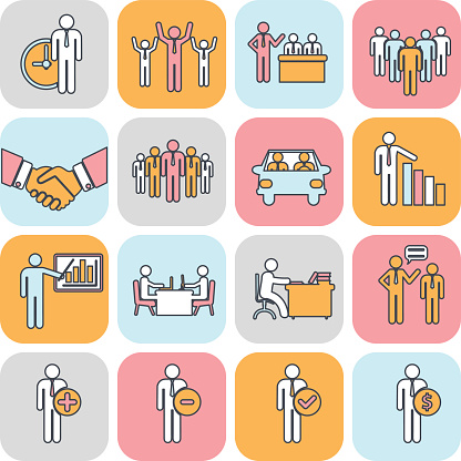 Human resources and management thin line icons set.