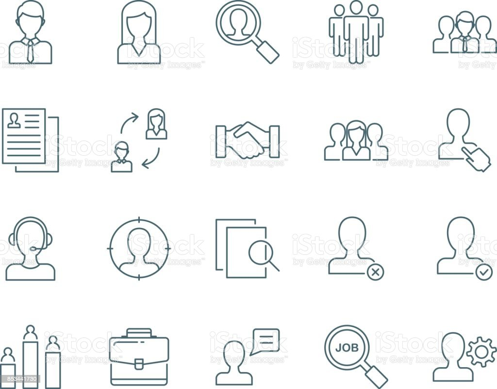 Human resources and managment vector icons set vector art illustration