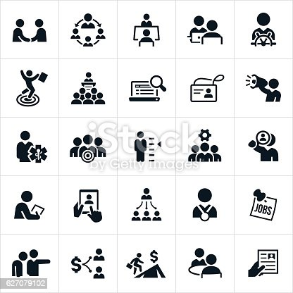 A set of icons representing human resources and recruiting in business. The icons include HR managers, hiring, recruiting, applicants, interviews, leadership, resume and other related icons.