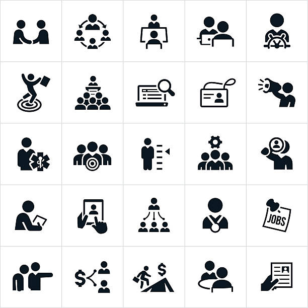 human resources and recruiting icons - supervisor stock illustrations, clip art, cartoons, & icons