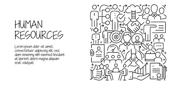 Human Resources and Recruitment Related Doodle Illustration. Modern Design Vector Illustration for Web Banner, Website Header etc.