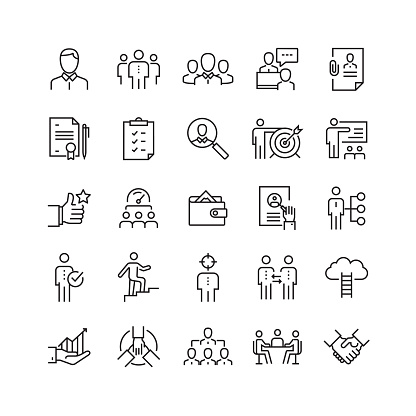 Human Resources and Recruitment Related Vector Line Icons