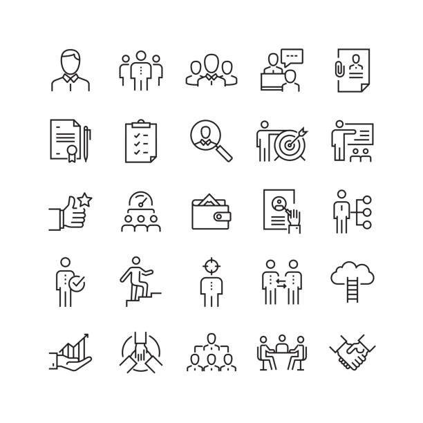 human resources and recruitment related vector line icons - autorytet stock illustrations
