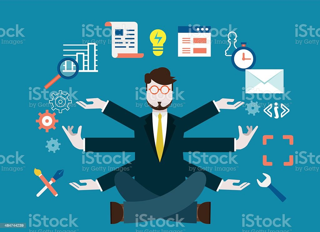 Human resources and self-development. Modern business vector art illustration