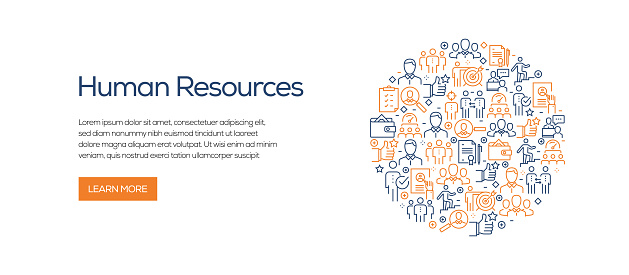 Human Resources Banner Template with Line Icons. Modern vector illustration for Advertisement, Header, Website.