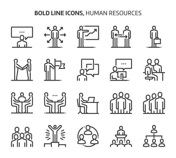 human resources, kühne linie symbole - meeting stock-grafiken, -clipart, -cartoons und -symbole