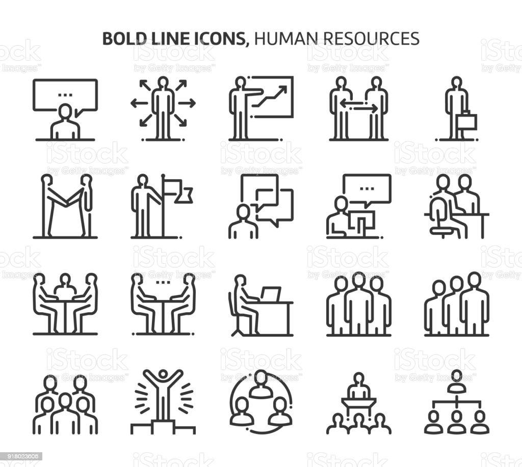 Recursos humanos, audaces línea de iconos - ilustración de arte vectorial