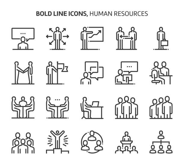 human resources, bold line icons - group of people stock illustrations