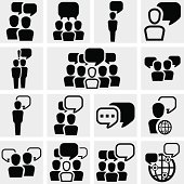 Human resources, business, social icon set isolated on grey background.EPS file available