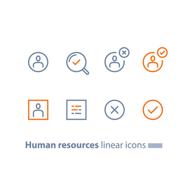 Human resources, choose candidate, recruitment service, fill vacancy, employment concept, application form review, staff search Recruitment service, human resources,  choose candidate, fill vacancy, employment concept, application form review, staff search, questionnaire check box, vector line icon, thin stroke application form stock illustrations