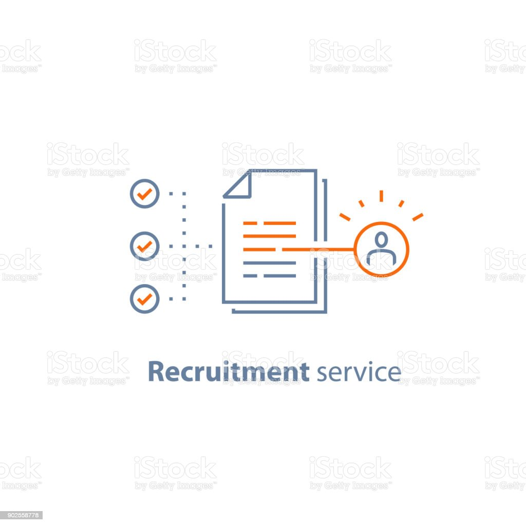 Human resources, choose candidate, recruitment service, fill vacancy, employment concept, application form review, staff search vector art illustration