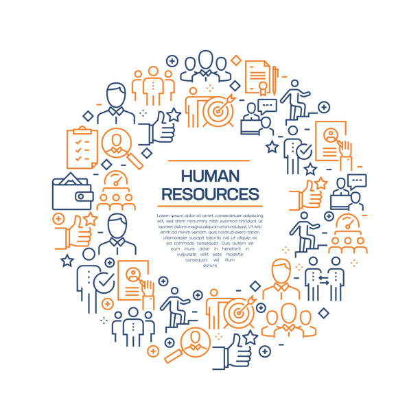 Human Resources Concept - Colorful Line Icons, Arranged in Circle Human Resources Concept - Colorful Line Icons, Arranged in Circle recruiter stock illustrations
