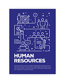 Human Resources Concept Line Style Cover Design for Annual Report, Flyer, Brochure.