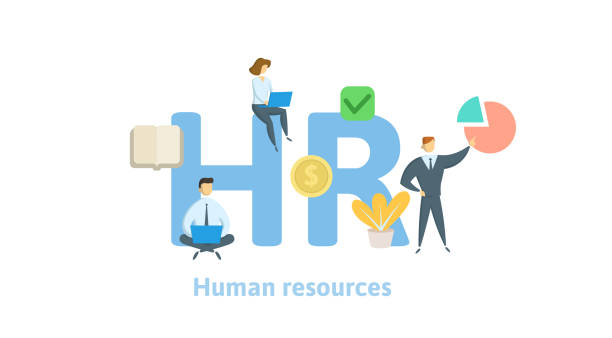 illustrazioni stock, clip art, cartoni animati e icone di tendenza di hr, human resources. concept with keywords, letters and icons. flat vector illustration on white background. isolated - reparto assunzioni